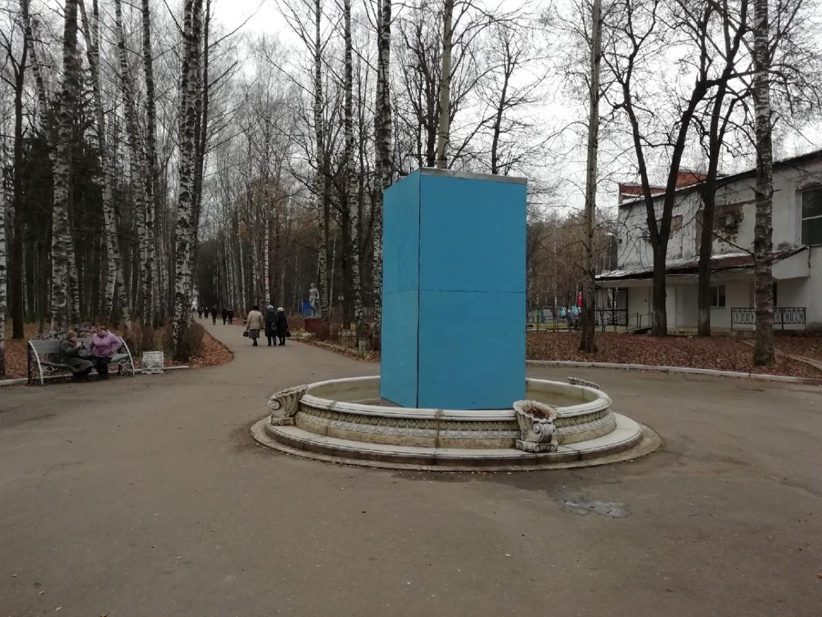 В Вичуге фонтан, восстановленный после злополучной прошлой новогодней ночи, закрыли в короб